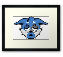 Wolf Furry Tired Face Emoji Framed Print