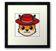 Fox Furry With Hat Straight Face Emoji Framed Print