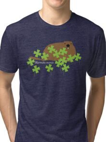 Groundhog in the Clover, Call him by his Latin name Tri-blend T-Shirt