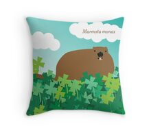 Groundhog in the Clover, Call him by his Latin name Throw Pillow