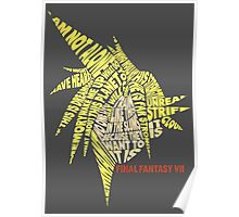 Final Fantasy VII (7) - Cloud Strife - Typography Poster