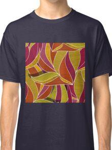 orange flowers \ leave pattern Classic T-Shirt
