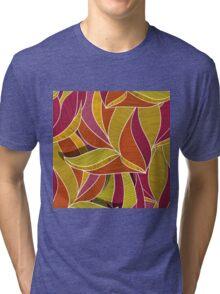 orange flowers \ leave pattern Tri-blend T-Shirt
