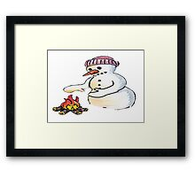 Freezing Snowman Framed Print
