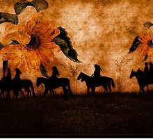 Movin' On - Western Cowgirls with Sunflowers by Doreen Erhardt