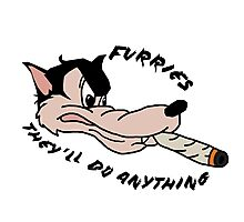 'Furries; they'll do anything' image decal Photographic Print