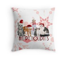 Holiday Cats in Red Hues Throw Pillow