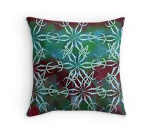 White star mandala over green and maroon Throw Pillow