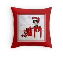 Red and White Christmas Kitty Throw Pillow