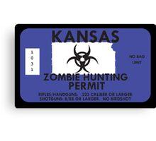 Zombie Hunting Permit - KANSAS Canvas Print