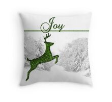 Joy to the World Reindeer Christmas Throw Pillow