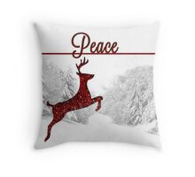 Peace On Earth Reindeer in Red Throw Pillow