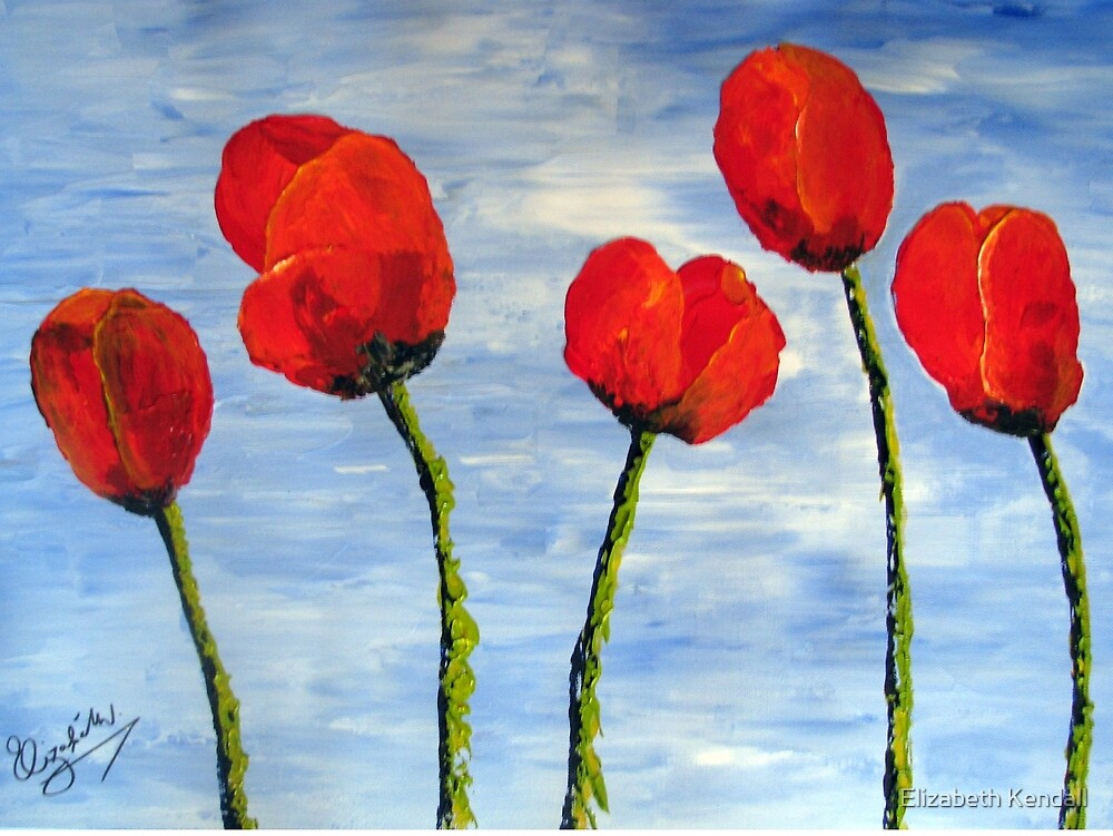 """""""Tulips are red, my love!""""  by Elizabeth Kendall"""