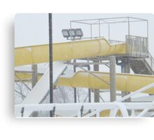 Snow and Ice on Water Park Slide Canvas Print