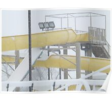 Snow and Ice on Water Park Slide Poster