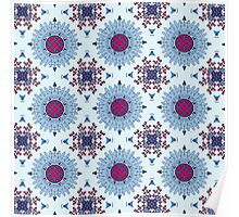 Blue and red mandala Poster
