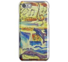 Whimsical Ocean Fantasy Painting, Surreal Fine Art Print, Sea Waves, Girl, Music Notes, Dolphins, Whale, Bright, Vintage, Sunset iPhone Case/Skin