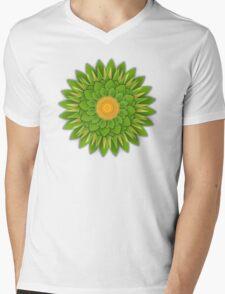 Green Sunflower Mens V-Neck T-Shirt