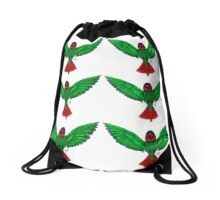Green/Orange HummingBird Drawstring Bag