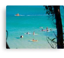 Looking Down at Little Cove Surfers Canvas Print