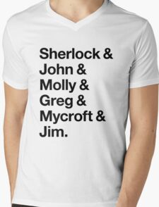 Helvetica Sherlock and John and Molly and Greg and Mycroft and Jim. (Light Background) Mens V-Neck T-Shirt