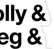 Helvetica Sherlock and John and Molly and Greg and Mycroft and Jim. (Light Background) Sticker