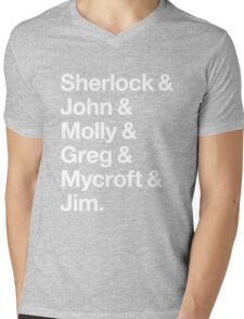 Helvetica Sherlock and John and Molly and Greg and Mycroft and Jim. (Dark Background) Mens V-Neck T-Shirt