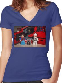 Flux Capacitor goes where? Women's Fitted V-Neck T-Shirt