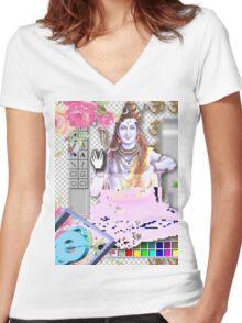 Vaporwave Seapunk - God bless the internet Women's Fitted V-Neck T-Shirt