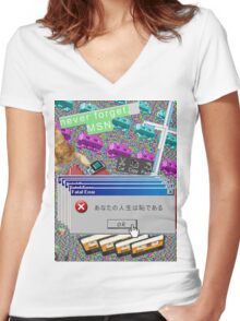 Vaporwave Seapunk much cool Women's Fitted V-Neck T-Shirt