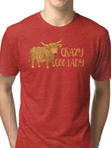 Crazy Coo (HIGHLAND COW) Lady Tri-blend T-Shirt