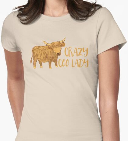 Crazy Coo (HIGHLAND COW) Lady Womens Fitted T-Shirt