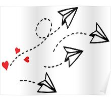 Origami love letter planes Poster