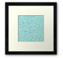 Cute Vintage Abstract Blue Floral Pattern Framed Print