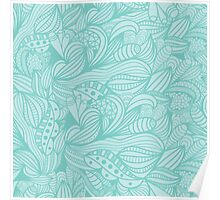Cute Vintage Abstract Blue Floral Pattern Poster
