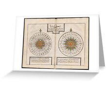 Turkish compass rose , 18th c. geography book by Katip Çelebi (Turkish-Ottoman) called 'Tuhfet ül-kibar fi esfar il-bihar' Greeting Card