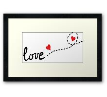 love typo with hearts Framed Print
