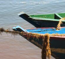 boat on lake Sticker