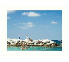 Swimming At Capri : Bay of Naples, Italy Art Print