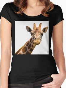 Giraffe head isolated on white background Women's Fitted Scoop T-Shirt