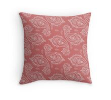 Coral Paisley Aztec Tribal Indian Pattern Throw Pillow