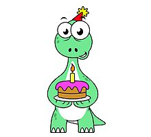 Illustration of a Brontosaurus with a birthday cake. Photographic Print