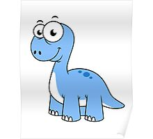 Cute illustration of a Brontosaurus. Poster