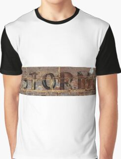 Word Storm with vintage writing on brick wall  Graphic T-Shirt