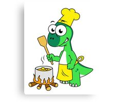 Illustration of a Parasaurolophus dinosaur cooking. Canvas Print