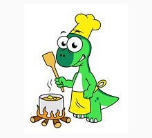 Illustration of a Parasaurolophus dinosaur cooking. Unisex T-Shirt