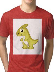 Cute illustration of a Parasaurolophus dinosaur. Tri-blend T-Shirt