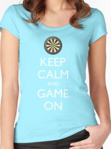 KEEP CALM AND GAME ON - Dart Board Women's Fitted Scoop T-Shirt