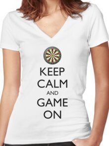 KEEP CALM AND GAME ON - Dart Board Women's Fitted V-Neck T-Shirt