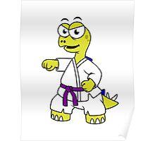 Illustration of a Stegosaurus practicing karate. Poster